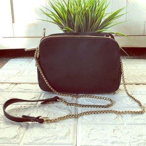 Neiman Marcus Goldchain black leather shoulder bag